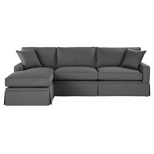 Liza LF Skirted Sectional, Charcoal Crypton