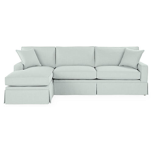 Liza LF Skirted Sectional, Seafoam Linen