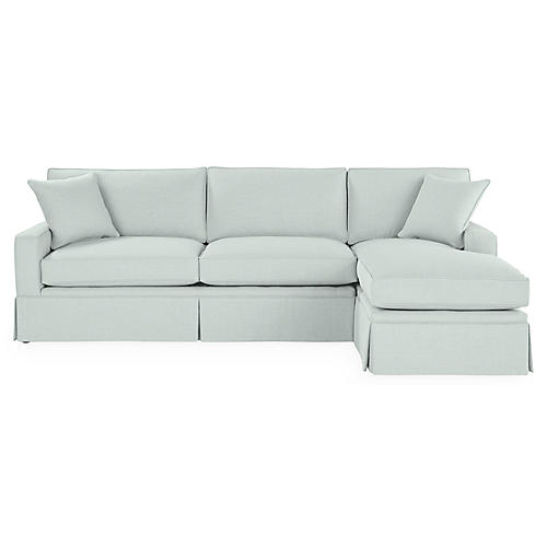 Liza RF Skirted Sectional, Seafoam Linen