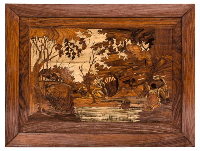 Wood Marquetry Art Tray
