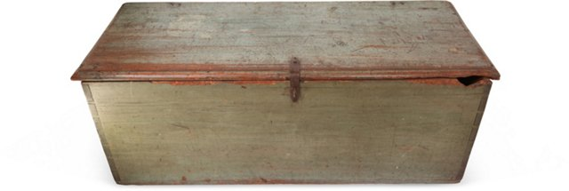 19th-C. Green Painted Sea Chest
