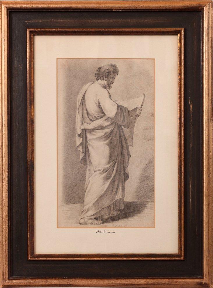 19th-C. Pencil & Charcoal Sketch