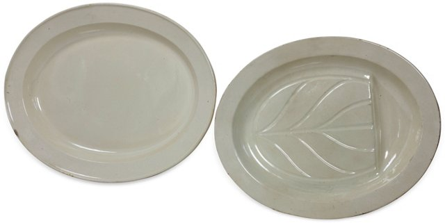 19th-C. Creamware Platters, Set of 2