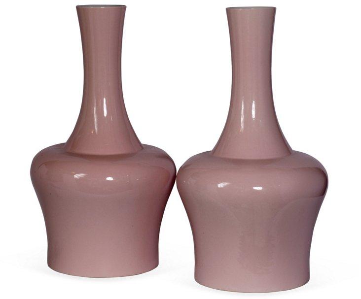 Pink Vases, Pair
