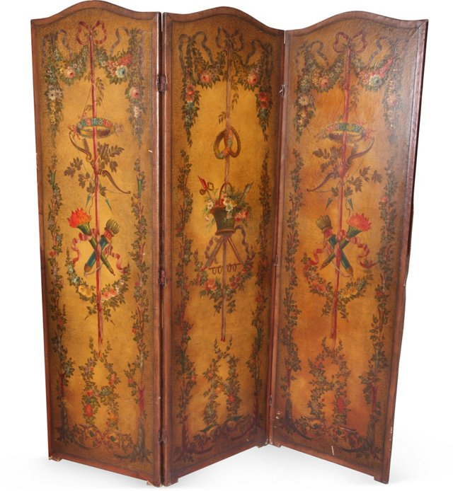 19th-C. 3-Panel Leather Screen
