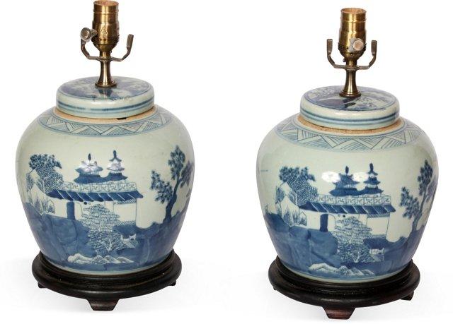 Chinese Ginger Jar Lamps, Pair
