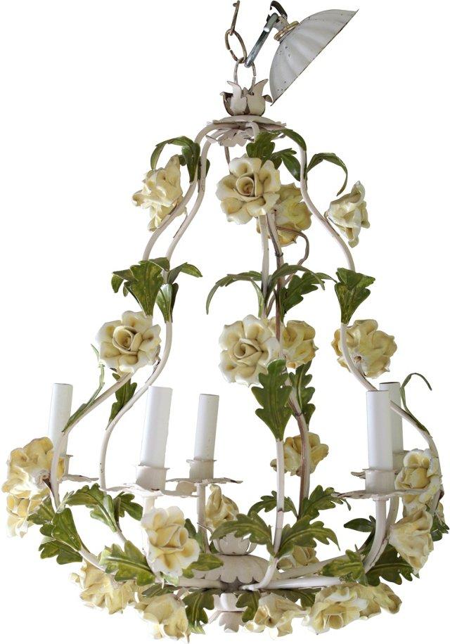 Vintage Rose Tole Chandelier