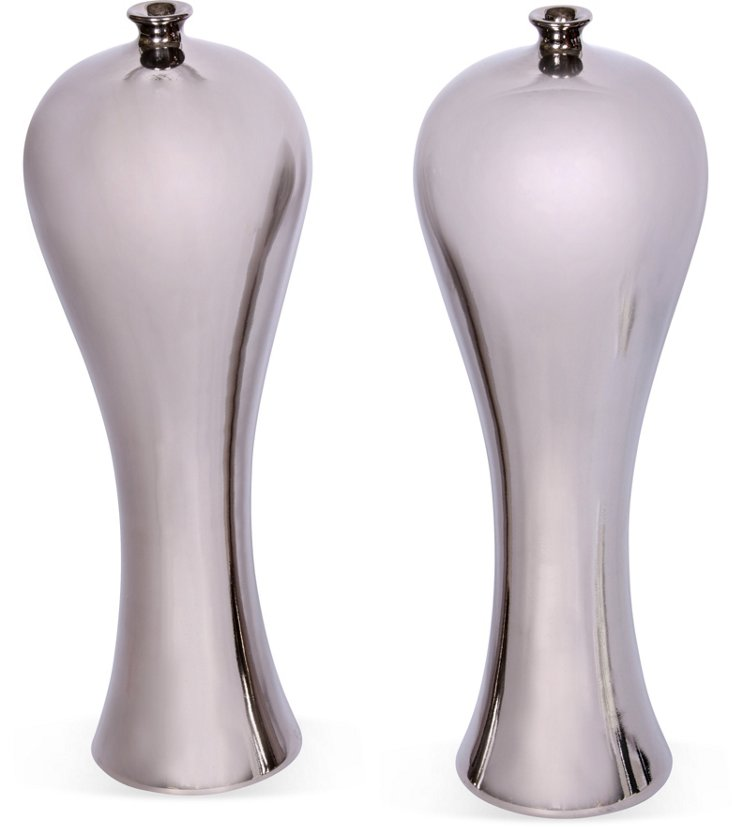 Silver Chinese Vases, Pair