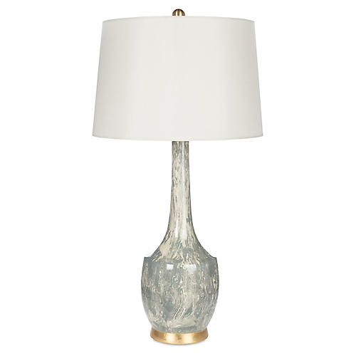Harlow Marble Table Lamp, Gray/Off-White
