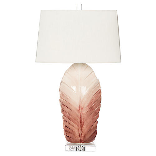 Sculptural Leaf Table Lamp, Pink Ombré