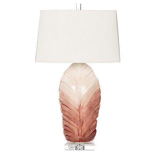Sculptural Leaf Table Lamp, Pink Ombré