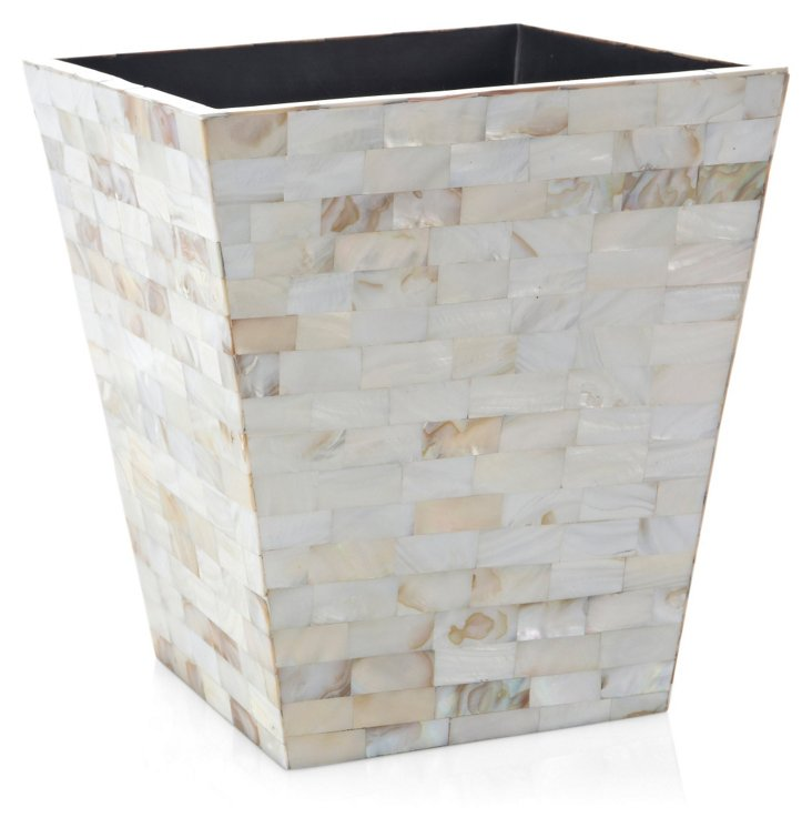 Wastebasket, Mother-of-Pearl