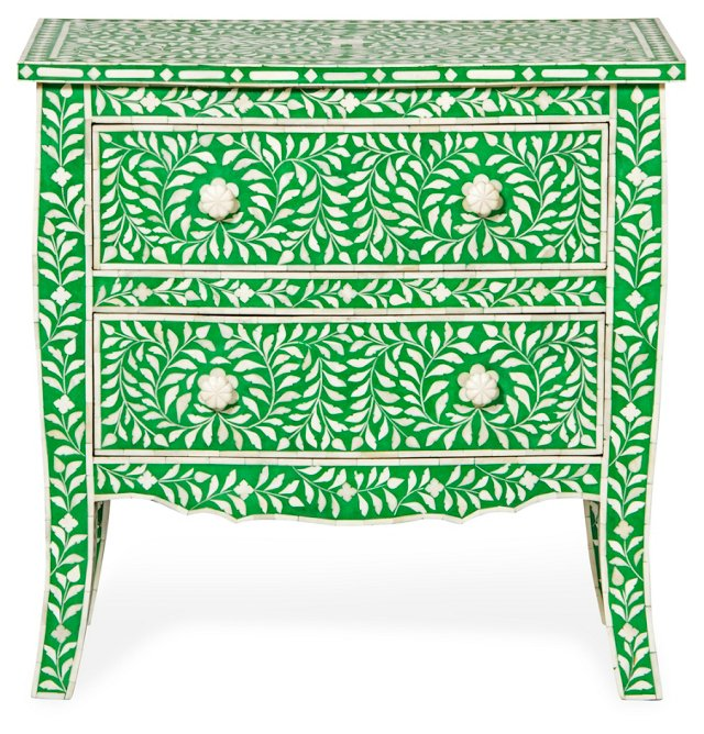 Bone-Inlay 2-Drawer Chest, Green