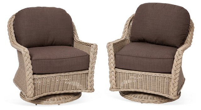 Outdoor Swivel Lounge Chairs, Pair