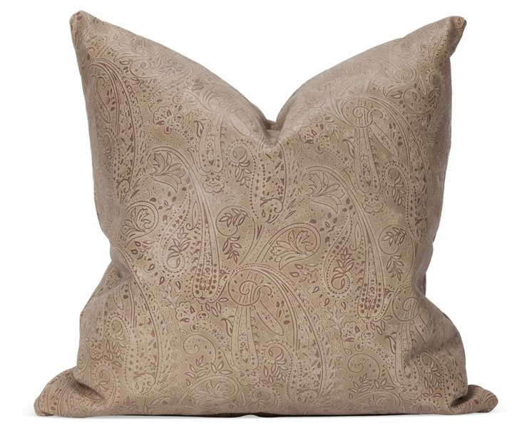 Paisley Embossed Leather Pillow