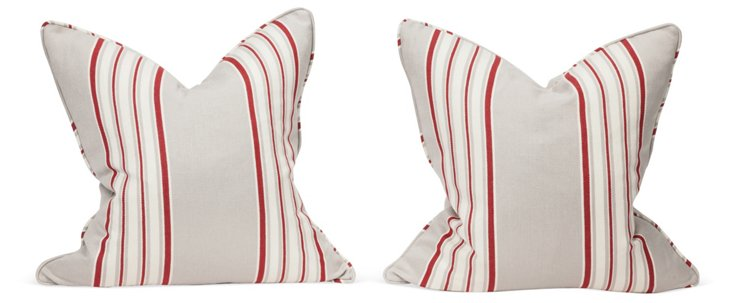 Red Striped Pillows, Pair