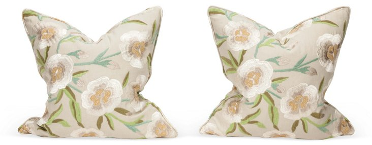 Floral Embroidered Pillows, Pair