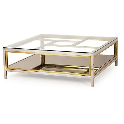 Windmill Coffee Table, Silver/Gold