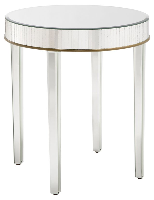 Kimberley Mirrored Side Table, Silver