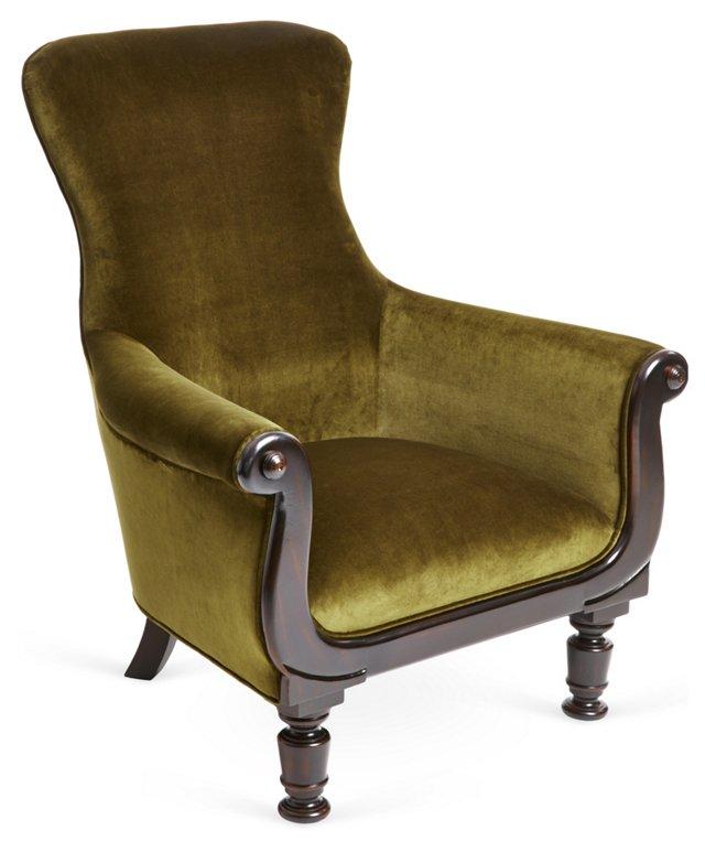 Charlie's Velvet Chair, Olive