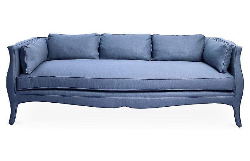 Southern Belle Sofa, Cornflower Blue Linen