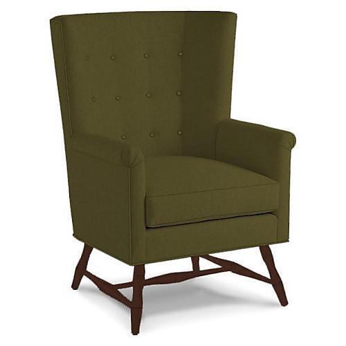 Westcott Wingback Chair, Olive Velvet