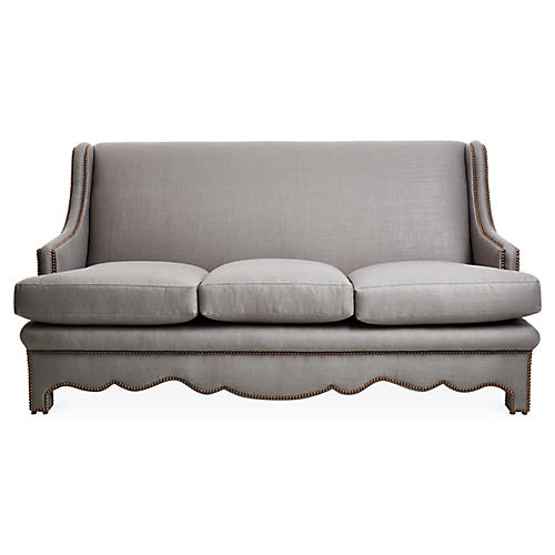 "Nailhead 75"" Sofa, Gray Linen"