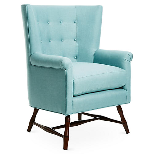 Westcott Wingback Chair, Blue Linen