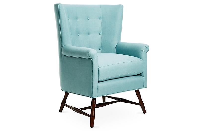 Westcott Wingback Chair, Blue Linen