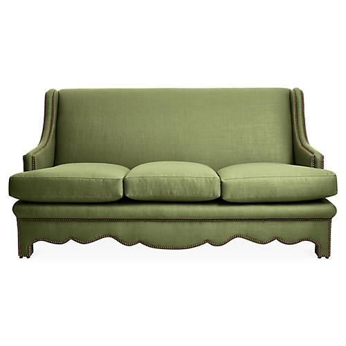 Nailhead Sofa, Green Linen