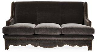 Nailhead Sofa, Gray Velvet   Sofas   Sofas U0026 Settees   Living Room    Furniture | One Kings Lane