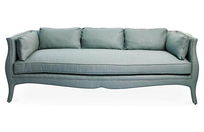 Southern Belle Sofa, Sea Blue Linen