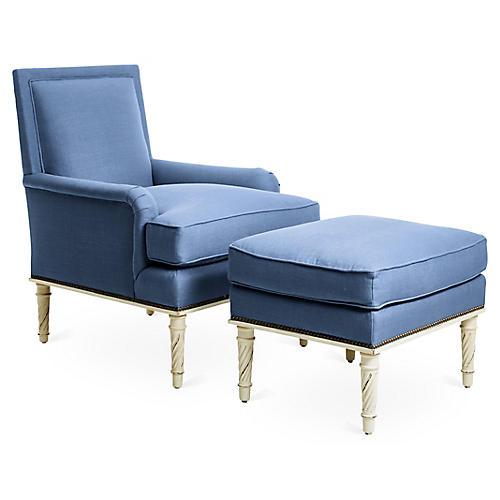 Azure Accent Chair & Ottoman Set, Blue
