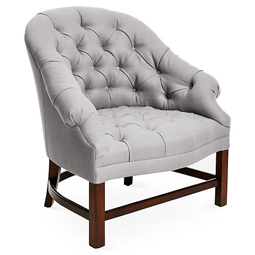 Tufted Accent Chair, Gray/Java Linen