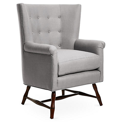 Westcott Wingback Chair, Gray Linen