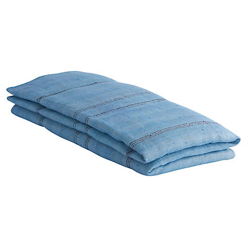 Desarae Hemp Throw, Blue