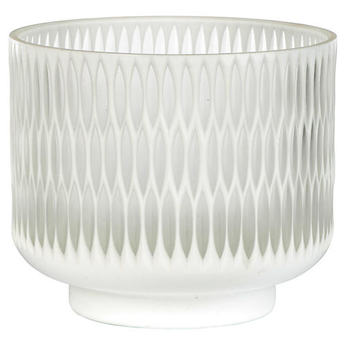 "7"" Modica Wide Candleholder, White/Opaque"