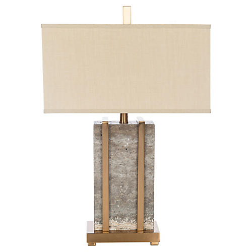 Esplanada Stone Table Lamp, Gray/Gold