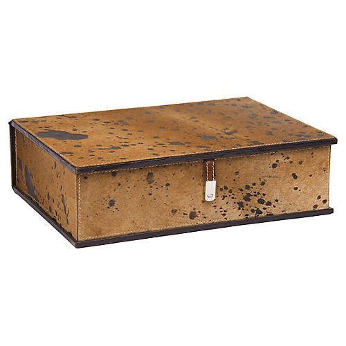 "15"" Spotted-Hide Box, Brown"