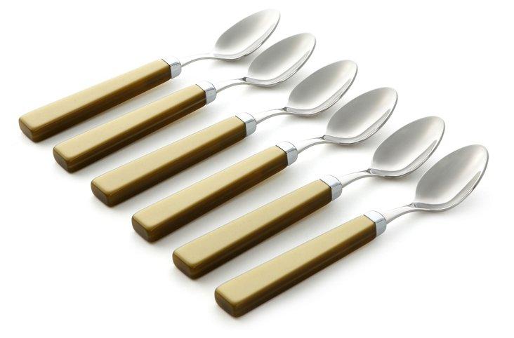 S/6 Moka Spoons, Green