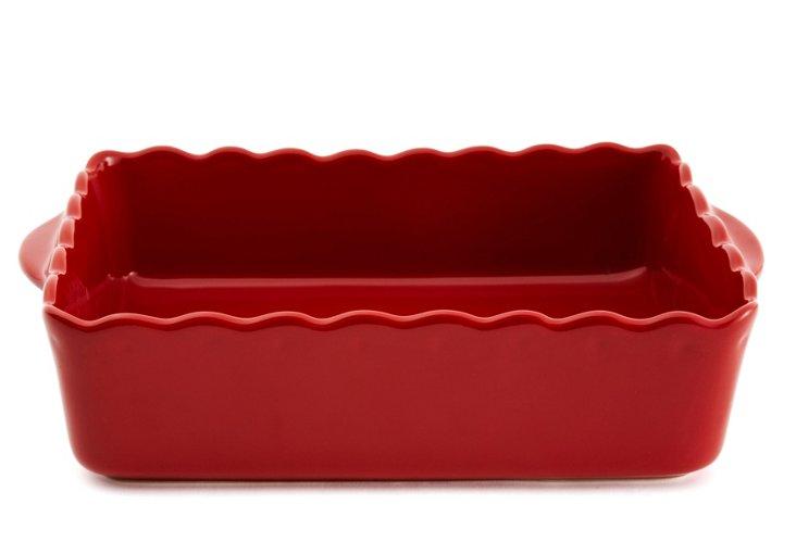 Rectangular Scalloped Baker, Red