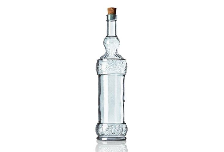 "S/2 Glass Bottles, 13"" Natural"
