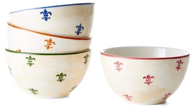 S/4 Assorted Fleur-de-Lis Soup Bowls