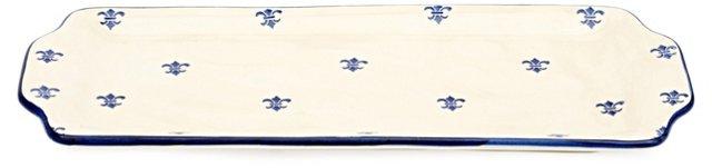Fleur-de-Lis Rectangular Platter, Blue