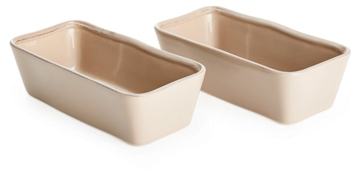 S/2 Small Loaf Pans, Taupe