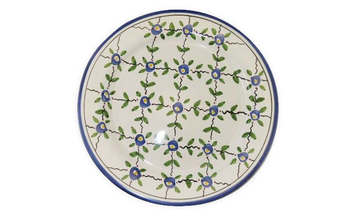 Hand-Painted Floral Diamond Dinner Plate