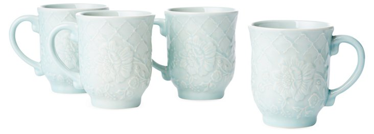 S/4 Coffee Mugs, Blue