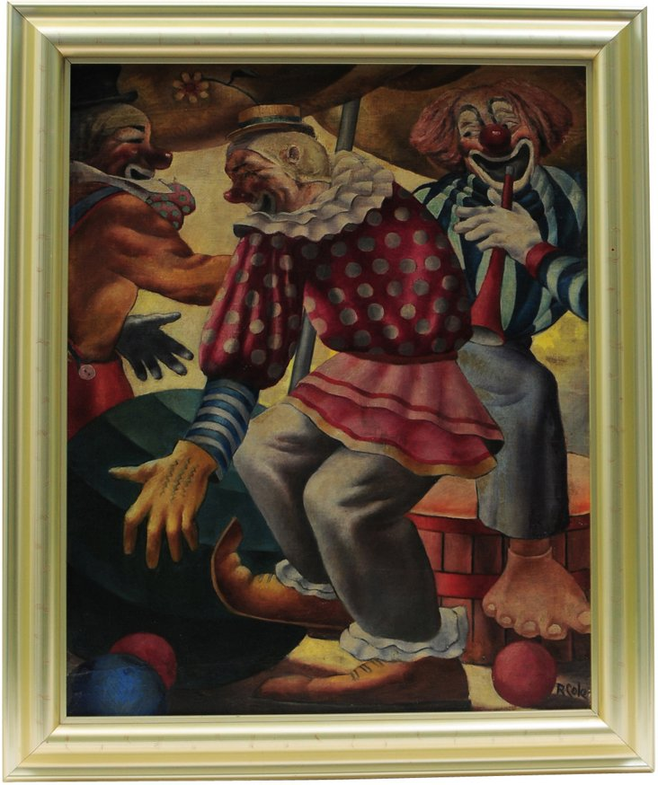 Art Deco Painting, Circus Clowns