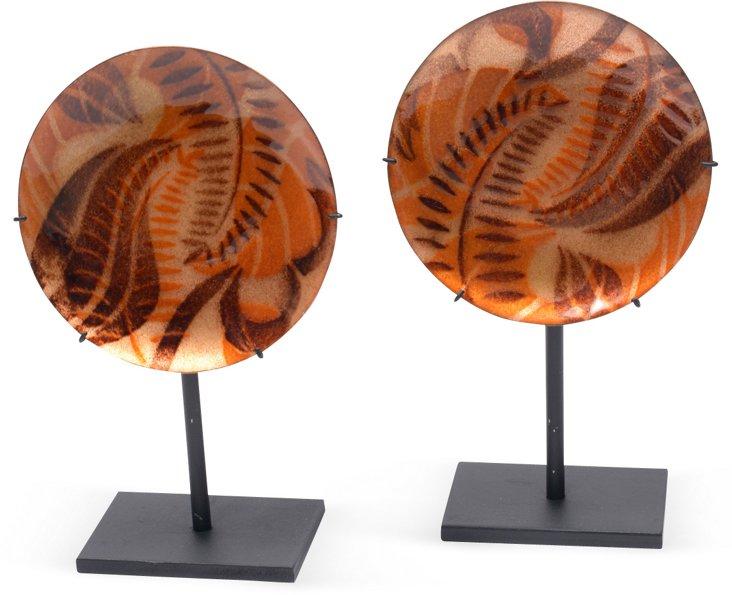 Enamel on Copper Plates, Pair I