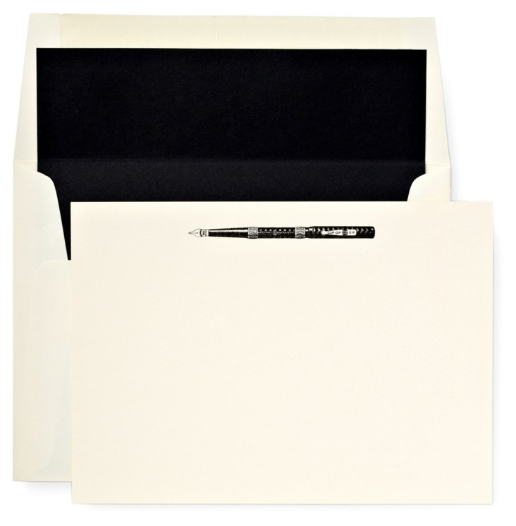 S/12 Note Cards/Envelopes, Fountain Pen